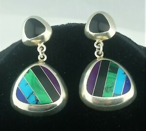 Vtg-Sterling-Silver-amp-Multi-Stone-Inlay-Dangle-Pierced-Post-Earrings-Signed-CII
