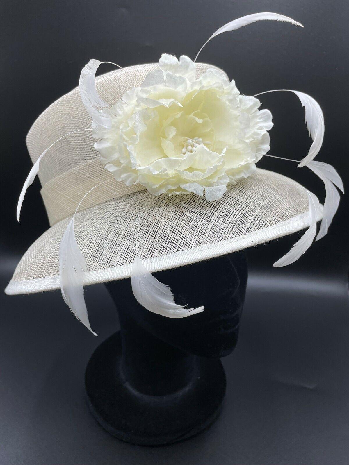 * Ladies cream formal wedding mother of groom full hat flower bridal ascot posh