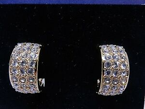 Details About Signed Swarovski Earrings Crystal Half Hoop Gold Plated Clip On 1510986 New