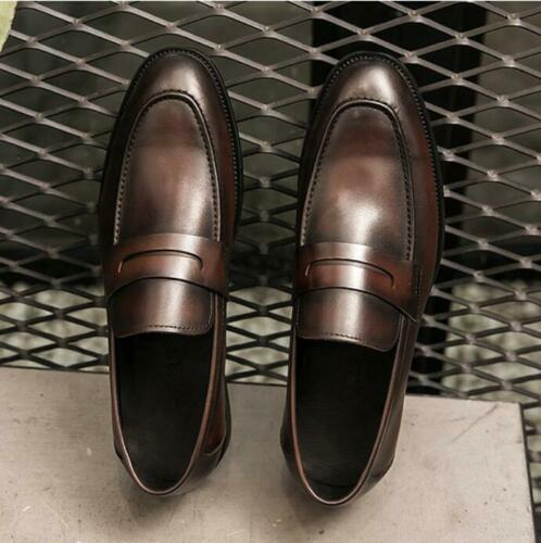 Details about  /Top Men/'s Genunie Leathr Brogue Style Oxford Shoes Round Toe Slip On Boat Shoes