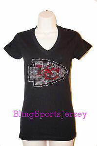 77246b16 Details about Kansas City Chiefs Jersey Rhinestone Bling T-shirt V-neck