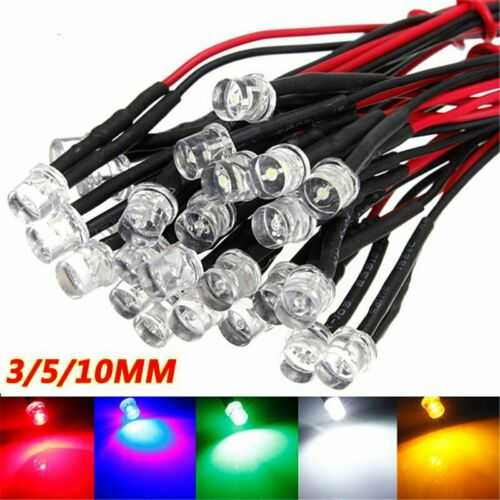 DC12V 3mm 5mm 10mm Single Colour Pre-Wired LED Light Emitting Diode 20CM Cable