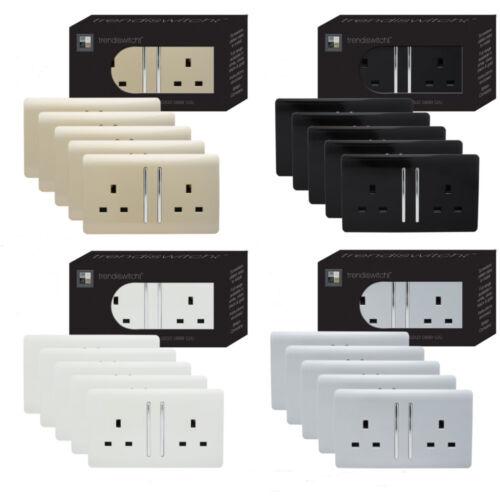 Trendi 2 Gang Artistique Moderne Brillant 13 A Switched Tactile Plug Socket Trade pack
