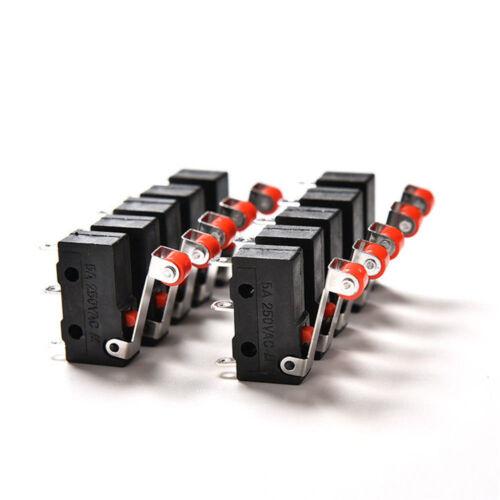 10Stk Micro Roller Hebel Arm Open Close Endschalter KW12-3 PCB Mikroschalter Neu