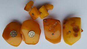 Old Vintage NATURAL BALTIC AMBER Cufflinks Egg Yolk Butterscotch Antique Unique Jewelry 14,2g 11439
