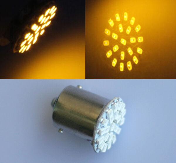 2x BA15S P21W 1156 Amber/Yellow 22 LED SMD Tail Side Indicator Light Bulb 12V