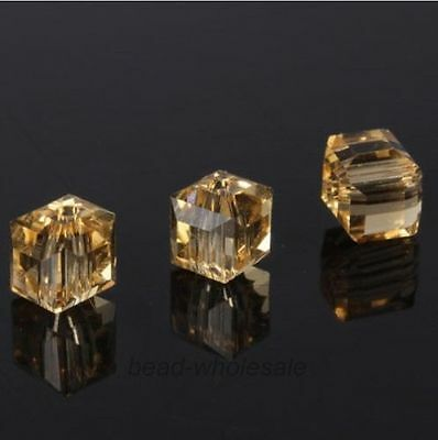 20pcs New Various Colors Glass Crystal Cube Spacer Beads 6x6x6mm For DIY Jewelry
