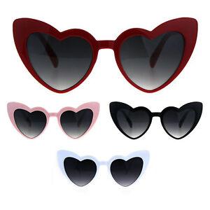 a9fcd65ce023 Image is loading Oversize-Heart-Shape-Cat-Eye-Retro-Womens-Plastic-