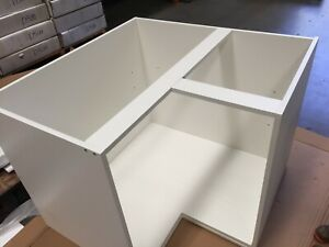 Flat Pack Kitchen Corner Cabinet 900x900 with Bifold Doors Gloss White Poly $286