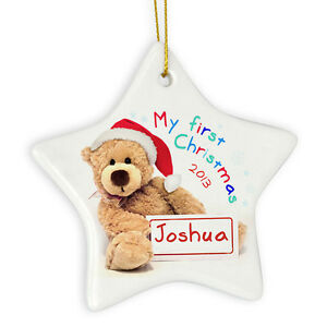 PERSONALISED-BABY-039-S-MY-FIRST-1ST-CHRISTMAS-TREE-DECORATION-BAUBLE-Gift-Idea