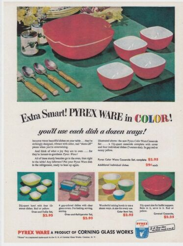 "PYREX Vtg 8x11/"" REPRINT AD Mixing BOWLS 1951 REFRIGERATOR Dishes Primary Colors"