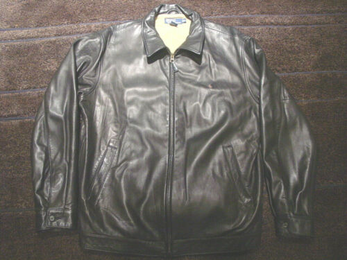 Ralph Lauren Polo Mens Brown Leather Bomber Jacket