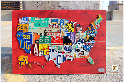 License Plate Map United States Recycled Metal Wall Art ... on license plate colors, license plate france, license plate malaysia, license plate water, license plate numbers, license plate mexico, license plate russia, license plate singapore, license plate italy, license plate clock, license plate art, license plate collection, license plate search, license plate germany, license plate united states, license plate syria, license plate china, license plate games, license plate country, license plate south africa,