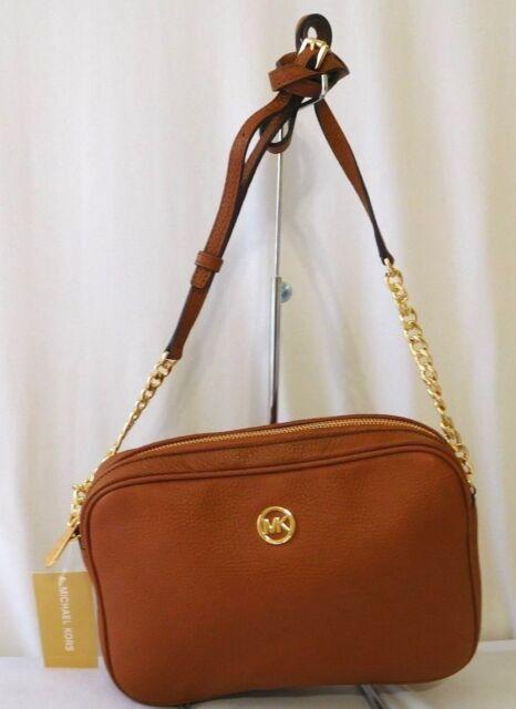 bbaaca7e8532 Michael Kors MK Crossbody EW Leather Luggage Brown New Leather  Goodtreasures123