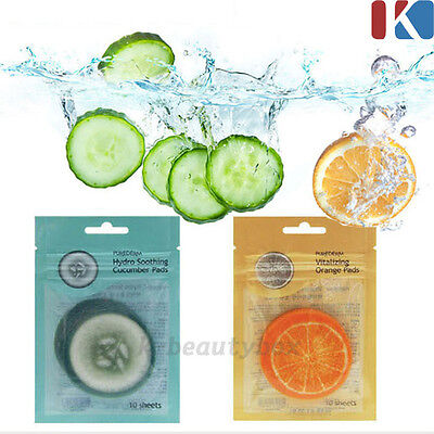 PUREDERM Hydro Facial Pads Vitalizing Orange Sheets, Soothing Cucumber Sheets