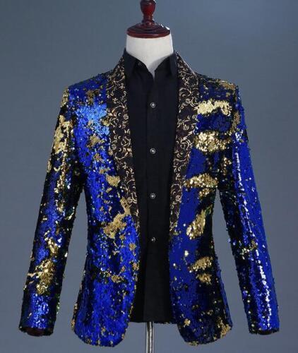 Nachtclubs jurk pak nieuw Pary Formeel jasje Mens Slim Blazer jas Cosplay Bling SVjLGpqUzM