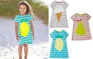 Girls new ex mini boden summer jersey stripy logo dress 2 for Mini boden schuhe