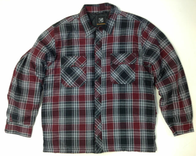 NEW Men/'s BC Clothing Quilted Shirt Jacket RED PLAID Snap Front Cotton Shell M