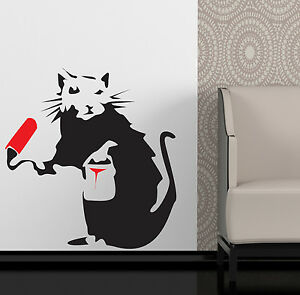 Banksy Wall Art banksy style painting rat wall art sticker decal | ebay