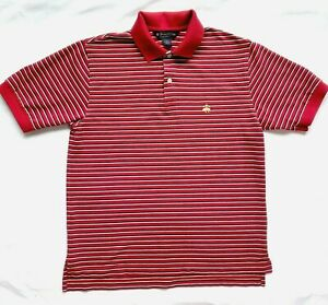 Brooks-Brothers-Mens-Small-Youth-Polo-Shirt-Red-Striped-Knit-Cotton-Collared