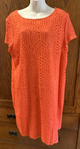 CHICOS Salmon Pink Lace Cocktail Dress 4 18 20