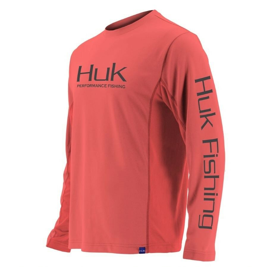 Huk H1200138  Icon Long Sleeve Performance Fishing Shirt 630 Coral Choose Size  all goods are specials