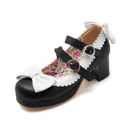 Süß Blockabsatz Damen Schleife Lolita Pumps Schuhe Cosplay Sommer Pumps 33-43