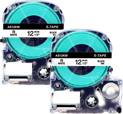 2 komp LC4WBN9 Schriftband für Epson LabelWorks LW-600P 12mm schwarz auf weiß
