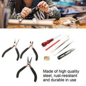 11Pcs DIY Jewelry Tool Set Pliers Tweezers Ring Crochet Needle Cutter Repair Kit