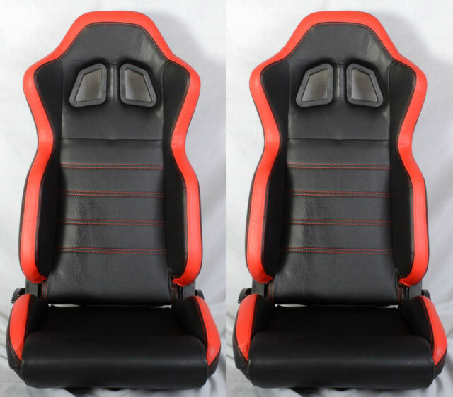 NEW 2 BLACK & RED PVC LEATHER RACING SEATS + SLIDER RECLINABLE PONTIAC NEW *