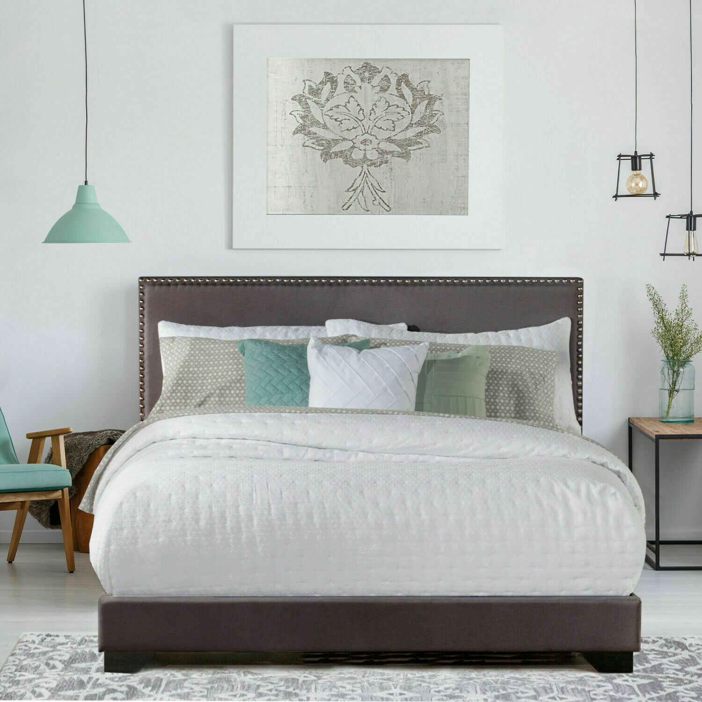 Platform Bed Frame With Headboard Antique Espresso 12 Inch King Size Solid Wood For Sale Online Ebay