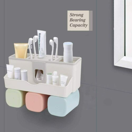 Automatic Toothpaste Dispenser Toothbrush Holder Wall Mount Storage Rack *3 CUPS