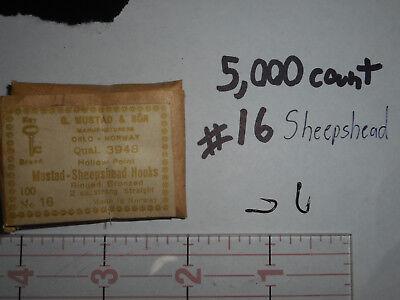 5,000 MUSTAD #16 Fly Tying Hooks Straight sheepshead ringed 2x strong 3948
