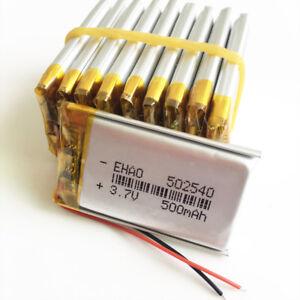 10 pcs 500mAh Lipo Polymer Battery 3.7V For mp3 MID DVD GPS bluetooth PDA 502540