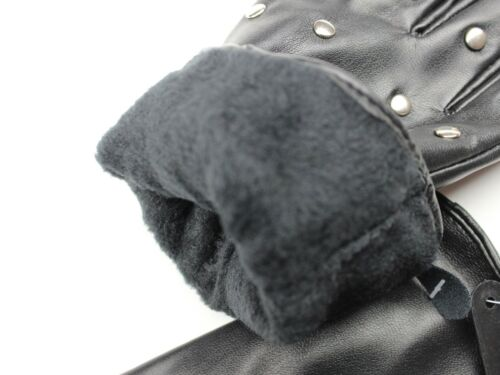 Black Faux Leather Womens Gloves With Metal Beads /& Zipper Biker Glove