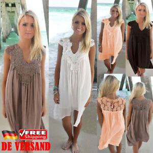 Damen-Boho-Strandkleid-Chiffon-Locker-Sommerkleid-Spitze-Minikleid-Freizeitkleid