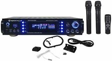 Rockville RPA7000UWM 1000w 2 Channel Rack DJ Amplifier/Receiver w/2 VHF Mics+USB