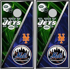 NY Jets /& NY Mets split 0737 custom cornhole board vinyl wraps stickers