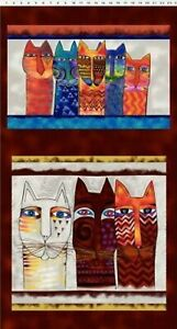 CLEARANCE! Cotton Fabric Panel Laurel Burch Feline Frolic Y2794-55M w/Gold Met
