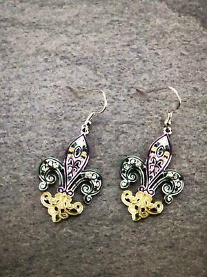 Fleur De Lis Mardi Gras New Orleans Earrings Silver Ebay