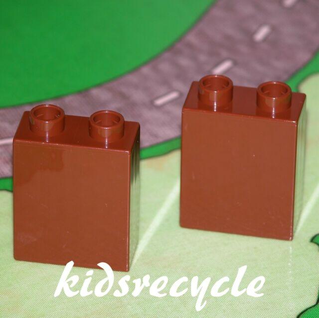 Lego DUPLO Brown 1x2x2 Bricks BLOCK LOT (2 Pieces) Spare Part 4066