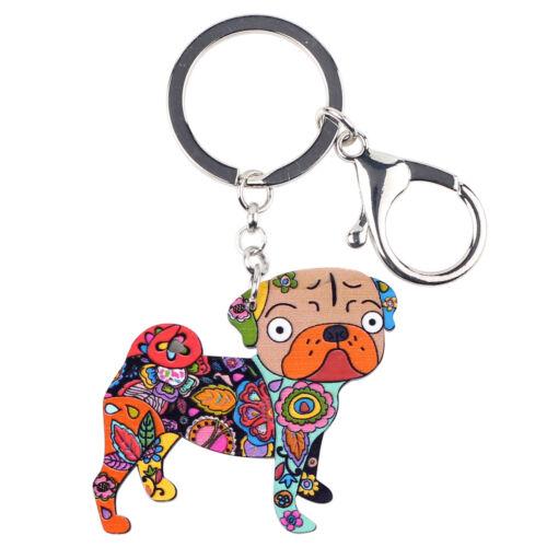 Acrylic Cartoon Pug Dog Car KeyChains Ring For Women Wallet Animal Jewelry Charm
