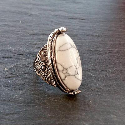 Bohemian Geometric Turquoise Stone Ring-Vintage Silver Hippy-Boho Statement