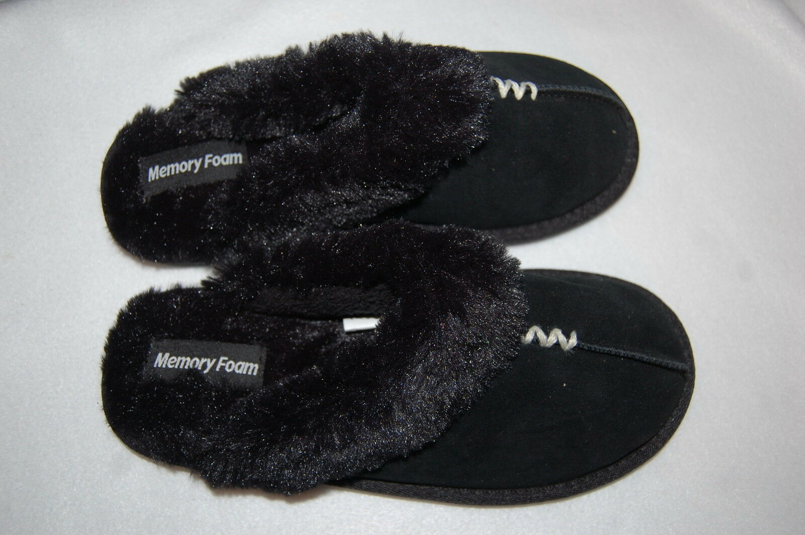 Womens Slippers BLACK LEATHER SLIP ON Faux Fur Trim MEMORY FOAM In-Outdoor S 5-6