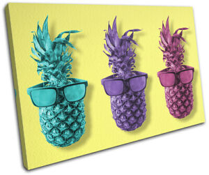 Pineapple-Glasses-Cool-Food-Kitchen-SINGLE-CANVAS-WALL-ART-Picture-Print