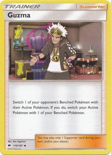 GUZMA 115//147 Playset Burning Shadows x4 Uncommon 4x Pokemon Card