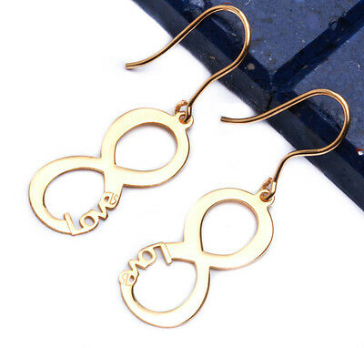 Yellow Gold Plated Infinity Love .925 Sterling Silver Earring