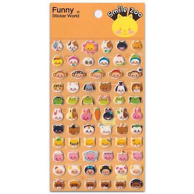 ✰ CUTE ANIMAL FACE STICKERS Puffy Vinyl Raised Sticker Sheet Scrapbook Smile Zoo