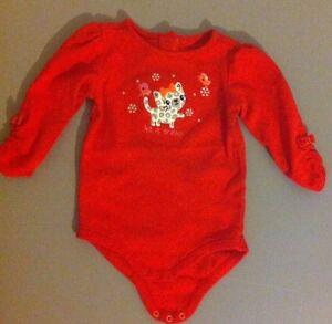Gymboree-Baby-Girls-Red-Kitten-Snap-Shirt-Size-6-12-Months-EUC