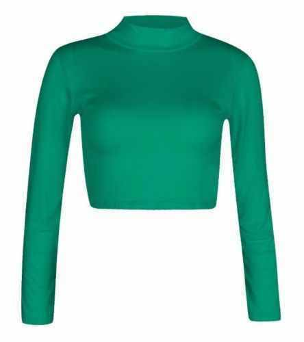 Ladies Womens Long Sleeve Plain Polo Turtle Neck Roll Neck Crop Top Jumper New